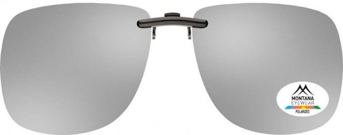 SFE-9833 Polarized Clip on Sunglasses in Silver Mirror