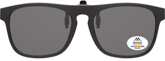SFE-9838 Polarized Clip on Sunglasses in Black/Smoke