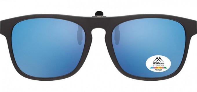 SFE-9839 Polarized Clip on Sunglasses in Black/Blue