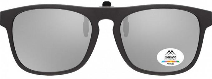 SFE-9839 Polarized Clip on Sunglasses in Black/Silver Mirror