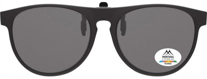 SFE-9840 Polarized Clip on Sunglasses in Black/Smoke