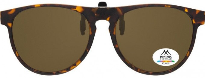 SFE-9840 Polarized Clip on Sunglasses in Turtle/Brown