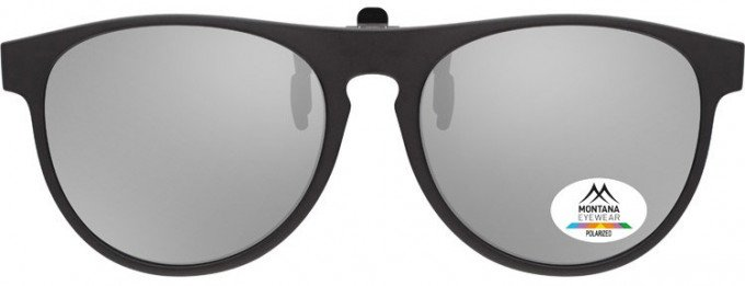 SFE-9841 Polarized Clip on Sunglasses in Black/Silver Mirror