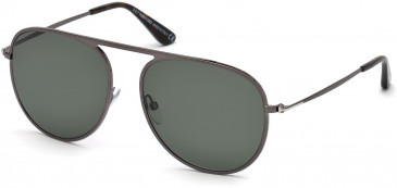 TOM FORD FT0621-57 sunglasses in Shiny Gunmetal / Green Polarized