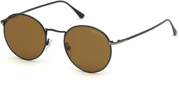 TOM FORD FT0649-52 sunglasses in Shiny Black / Brown
