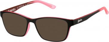 Superdry SDO-YUMI sunglasses in Matte Black/Pink Fade