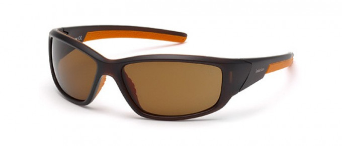 Timberland TB9049 sunglasses in matte dark brown/brown polarized