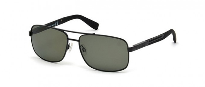 Timberland TB9057 sunglasses in matte black/green polarized