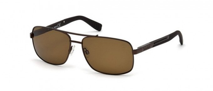 Timberland TB9057 sunglasses in matte dark brown/brown polarized