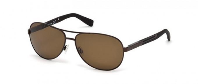 Timberland TB9058 sunglasses in matte dark brown/brown polarized