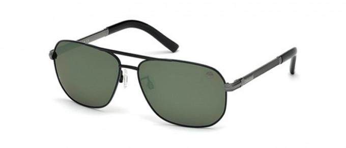 Timberland TB9071 sunglasses in matte black/green polarized