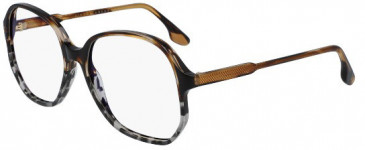 Victoria Beckham VB2600 glasses in Striped Brown/Grey Tortoise