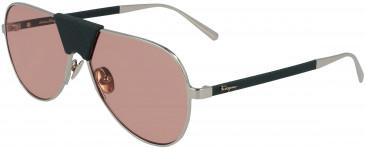 Salvatore Ferragamo SF220SL sunglasses in Light Gold/Forest Green Leathe