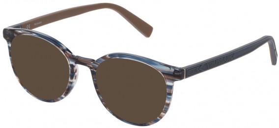 Trussardi VTR392 sunglasses in Shiny Striped Blue/Brown