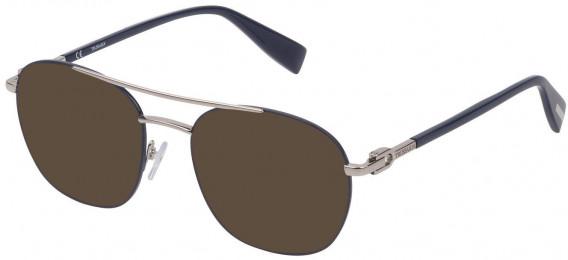 Trussardi VTR358 sunglasses in Shiny Palladium/Blue