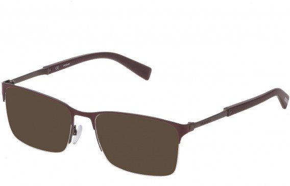Trussardi VTR357 sunglasses in Shiny Gun/Bordeaux