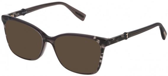 Trussardi VTR309 sunglasses in Shiny Grey/Black Havana