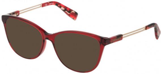 Trussardi VTR307 sunglasses in Shiny Transparent Bordeaux Red