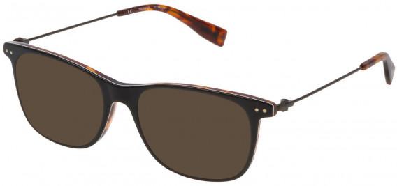 Trussardi VTR246 sunglasses in Shiny Top Black/White/Havana