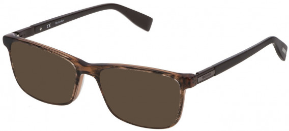Trussardi VTR242 sunglasses in Striped Bicolor Brown