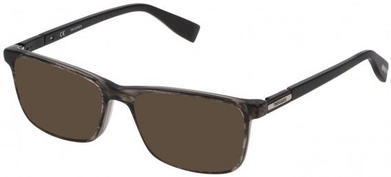 Trussardi VTR242 sunglasses in Shiny Striped Grey