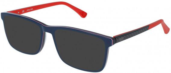 Police VPL959 sunglasses in Shiny Multilayer Blue