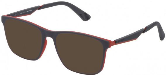 Police VPL888 sunglasses in Rubberized Red/Grey
