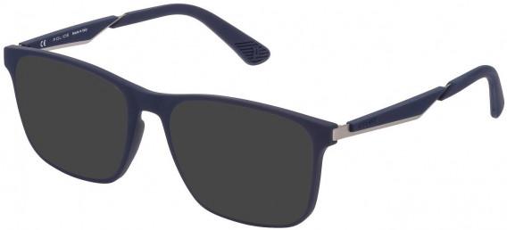 Police VPL888 sunglasses in Rubberized Blue