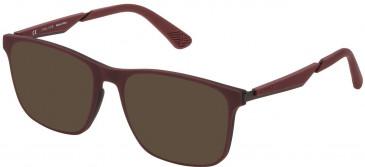 Police VPL888 sunglasses in Black/Bordeaux