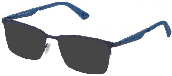 Police VPL887 sunglasses in Matt Blue