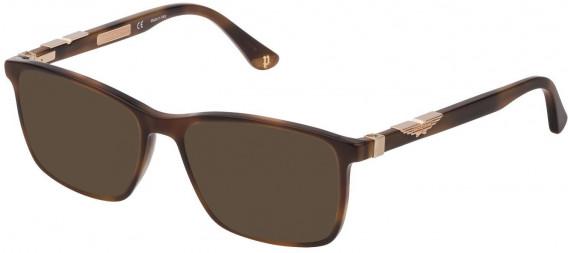 Police VPL886 sunglasses in Shiny Brown/Yellow Havana