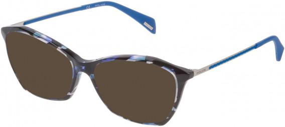 Police VPL840 sunglasses in Blue Havana/Black
