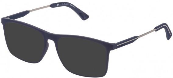Police VPL797 sunglasses in Rubberized Night Blue