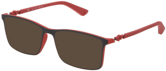 Police VPL796 sunglasses in Rubberized Red/Grey