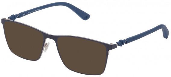 Police VPL795 sunglasses in Shiny Full Blue/Full Azure