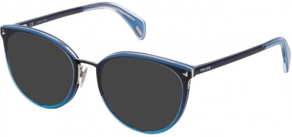 Police VPL737 sunglasses in Shiny Azure Gradient Dark Blue