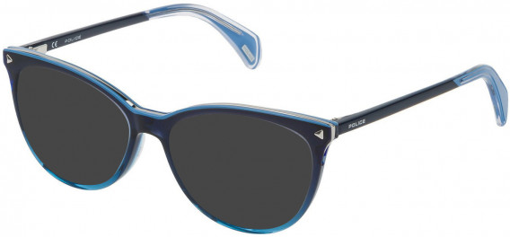 Police VPL736 sunglasses in Shiny Azure Gradient Dark Blue