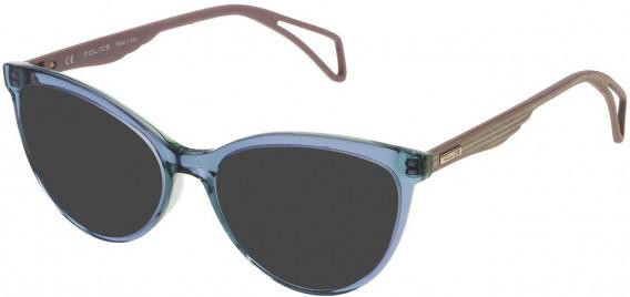 Police VPL735 sunglasses in Shiny Petroleum Top/Green
