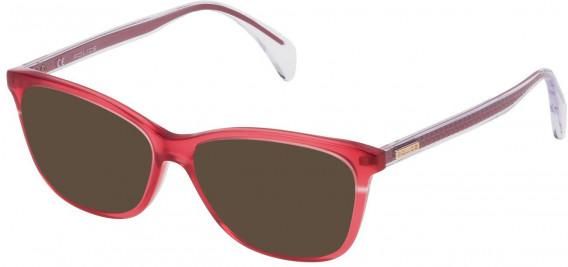 Police VPL733 sunglasses in Shiny Opal Strawberry Red