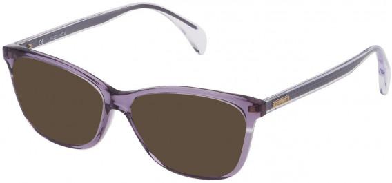 Police VPL733 sunglasses in Shiny Transparent Violet