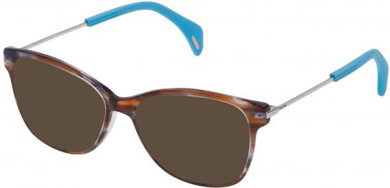 Police VPL729 sunglasses in Azure Striped Brown