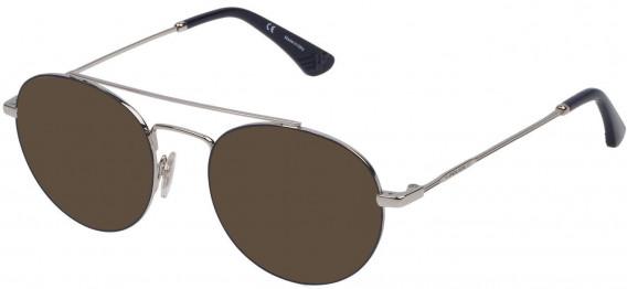 Police VPL728 sunglasses in Shiny Palladium/Blue