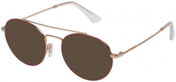 Police VPL728 sunglasses in Shiny Rose Gold/Red