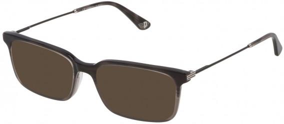 Police VPL687 sunglasses in Transparent Grey Top/Striped Anthracite