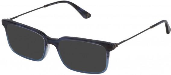 Police VPL687 sunglasses in Shiny Striped Blue/Azure