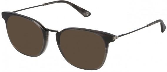 Police VPL686 sunglasses in Transparent Grey Top/Striped Anthracite