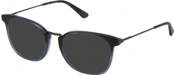 Police VPL686 sunglasses in Shiny Striped Blue/Azure