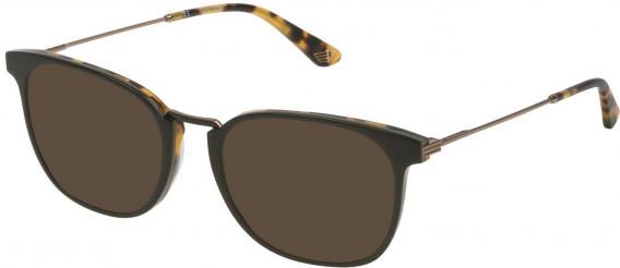 Police VPL686 sunglasses in Shiny Green/Havana