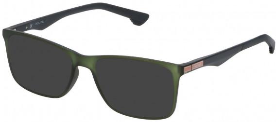 Police VPL638 sunglasses in Rubberized Green