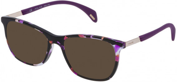Police VPL630 sunglasses in Shiny Orange/Violet Havana